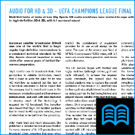 Audio for HD and 3D UEFA Champions League final