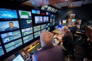 PAC 12 Network at Cal Bears Football vs. Colorado, Sept 27, 2014, at Cal Memorial Stadium in Berkeley