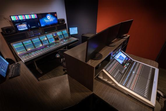 Calrec Artemis and Brio digital mixing console at Full Sail University USA`