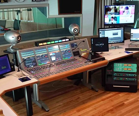 Calrec Artemis broadcast audio mixing console at Bay FM in Japan