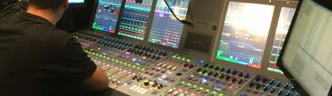 Calrec Artemis digital broadcast audio mixing console at Torneos