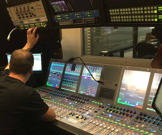 Calrec Artemis digital broadcast audio mixing console at Torneos