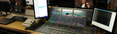 Calrec Artemis digital broadcast audio mixing console at TVB Hong Kong