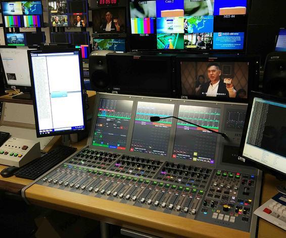 Calrec Artemis digital broadcast audio mixing console at TVB Hong Kong
