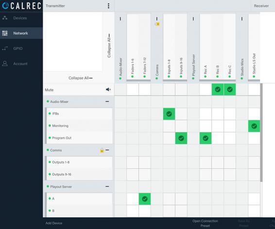 Calrec Connect screenshot