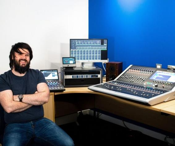 Bas Free with Calrec's Brio and Type R audio consoles at Synthax Audio.