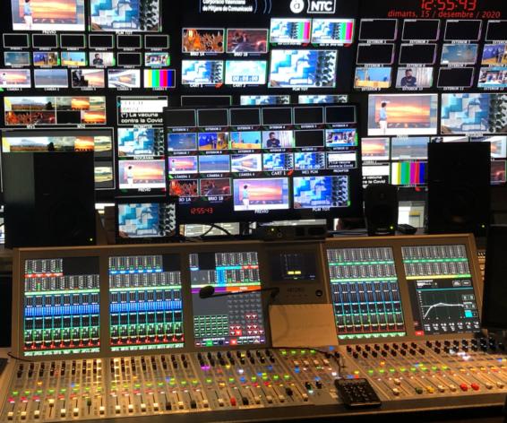 Calrec Artemis audio consoles in the Studio Control Room at Valencian TV station À Punt Media.