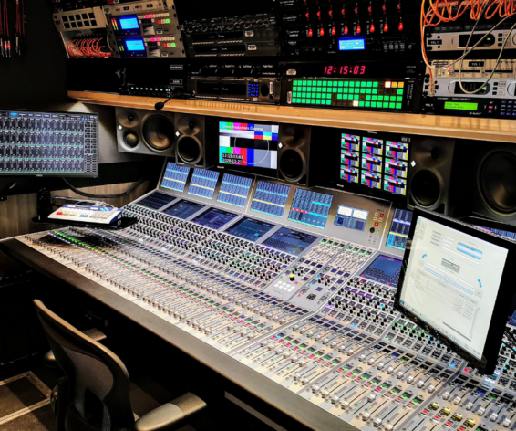 Calrec Apollo audio mixer inside Dome Productions' Gateway IP Truck.