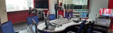 RTM PerlisFM studio setup with a Calrec Type R radio console