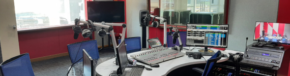 Calrec Type R radio console setup in a studio at RTM PerlisFM