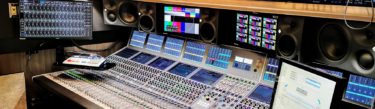 Calrec Apollo audio mixing console in Dome Productions Gateway IP truck.