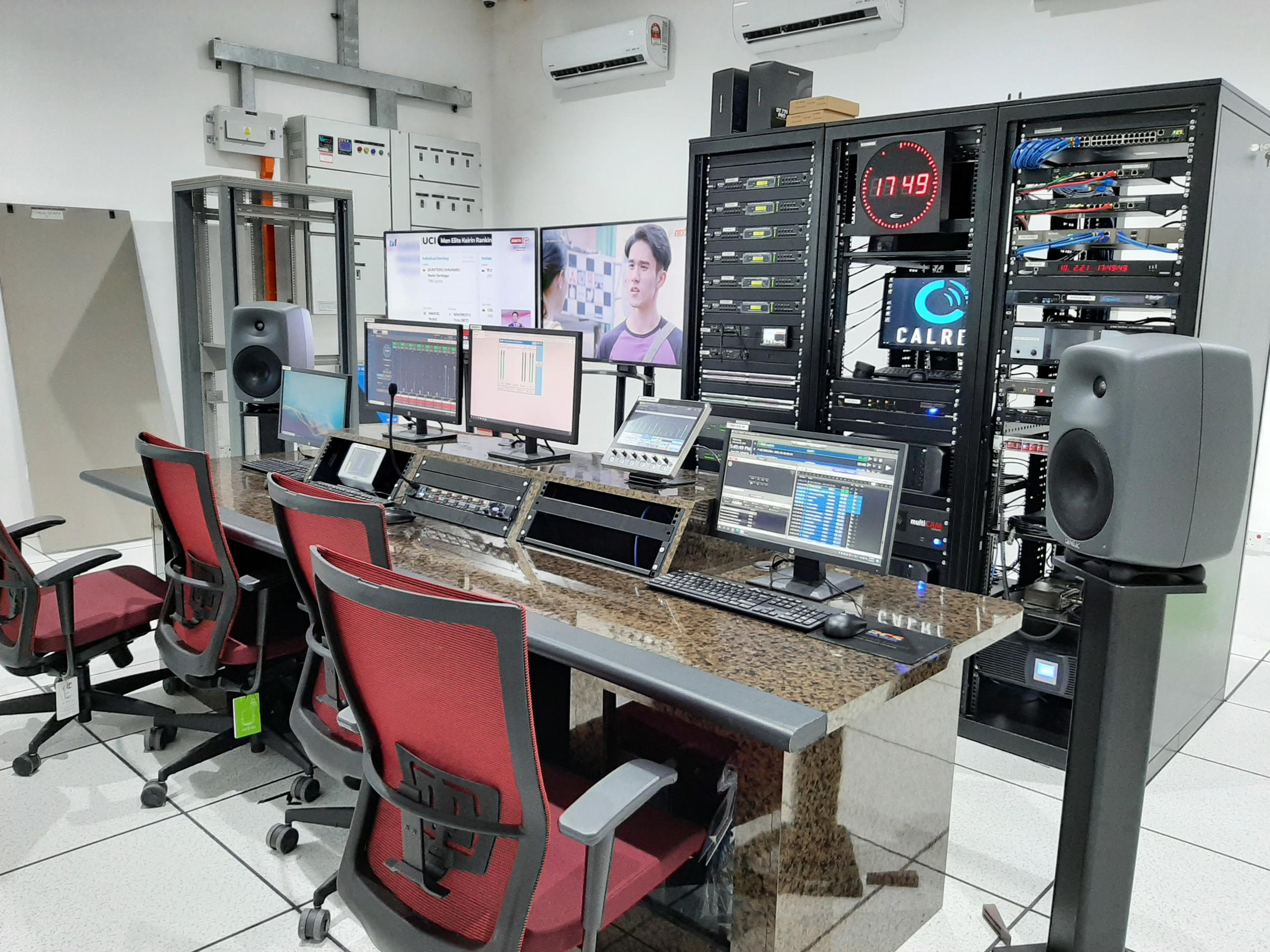 Calrec Type R core with LSP, combo box and AES I/O boxes in the Master Control Room at RTM Perlis FM.