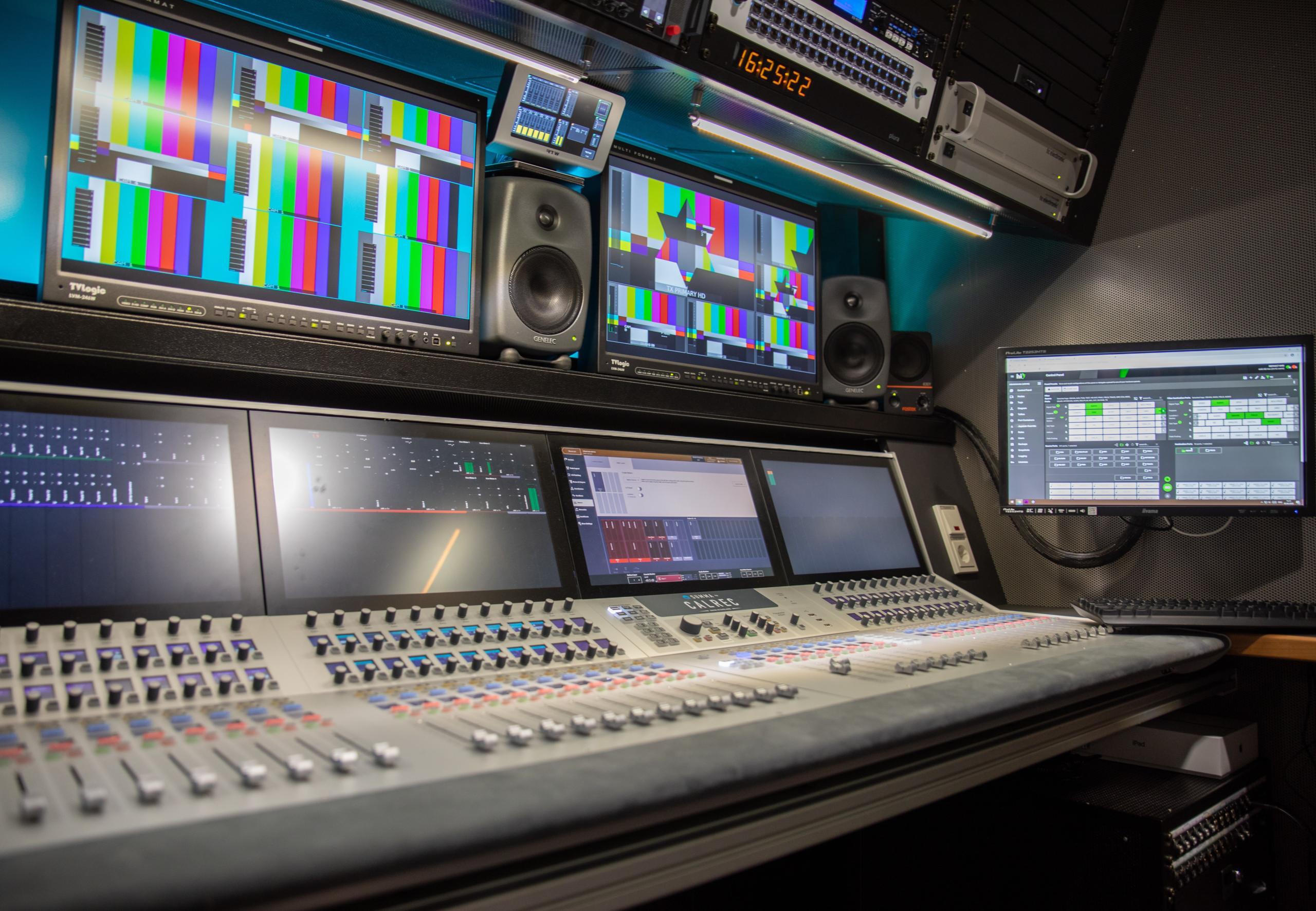 Calrec Summa audio console in City TV Radio Agency's UHD OB van in St. Petersburg, Russia